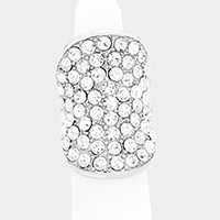 Wide Crystal Rhinestone Pave Stretch Ring