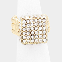Crystal Rhinestone Pave Square Stretch Ring