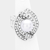 Knotted Crystal Rhinestone Pave Pearl Centered Stretch Ring