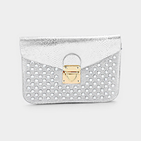 Stone Embellished Faux Leather Mini Clutch Bag