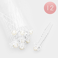 12PCS - Pearl Centered Pave Flower Mini Hair Comb Pins