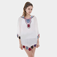 Colorful Embroidery Cover Up Poncho