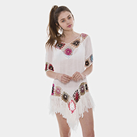 Colorful Embroidery Long Tassel Fringe Cover Up Poncho