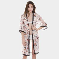 Lace Trim Floral Sheer Cover Up Poncho