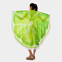 Lime Tassel Trim Terry Cloth Round Beach Towel