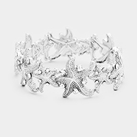 Stone Textured Metal Starfish Stretch Bracelet