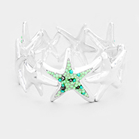Bead Cluster Hammered Metal Starfish Stretch Bracelet