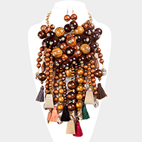 Wood Ball Cluster Vine Fringe Tassel Statement Bib Necklace