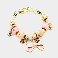 Multi Beaded Enamel Bow Charm Bracelet