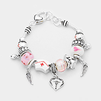 Multi-Bead Wing Charm Nurse Hat Bracelet