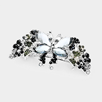 Floral Butterfly Stone Pave Barrette