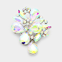 Crystal Floral Pin Brooch