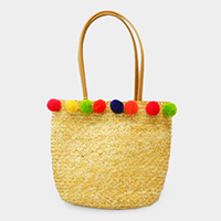 Straw Multi Colored Pom Pom Tote Bag