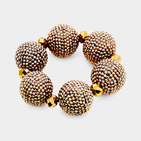 Oversied Shamballa Ball Stretch Bracelet