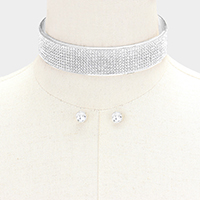 Crystal banded metal choker necklace