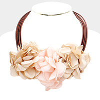 Triple Fabric Flower Necklace