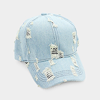 Destroyed Denim Baseball Cap