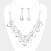 Crystal Rhinestone Pave Teardrop Fringe Bib Necklace