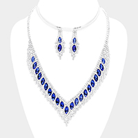 Crystal Rhinestone Pave Oval Cluster Necklace