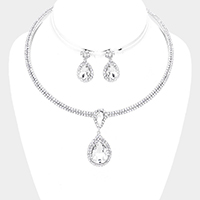Rhinestone Pave Crystal Teardrop Dangle Cuff Necklace
