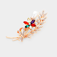 Pearl Colorful Stone Flower Pave Leaf Brooch / Pendant