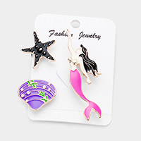 3PCS Enamel Starfish Shell Mermaid Brooches