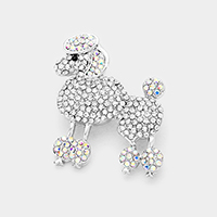 Stone Pave Poodle Brooch / Pendant