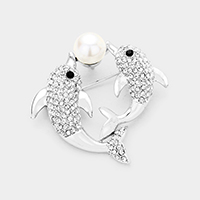 Stone Pave Pearl Accented Twin Dolphin Brooch / Pendant