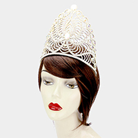 Wide Crystal Stone Accented Pageant Queen Tiara