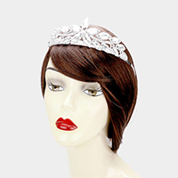 Crystal Flower Rhinestone Pave Pageant Queen Tiara