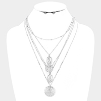 Chain Layered Virgin Mary Metal Disc Bib Necklace