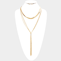 Multi Layered Long Drop Metal Chain Y Necklace