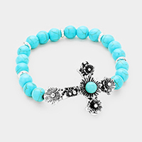 Turquoise Beaded Antique Cross Centered Stretch Bracelet