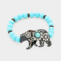 Turquoise Beaded Polar Bear Centered Stretch Bracelet