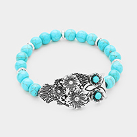 Turquoise Beaded Owl Centered Stretch Bracelet