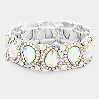 Teardrop Rhinestone Trim Stretch Evening Bracelet