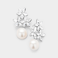 Triple Flower Pearl Accented Evening Earrings