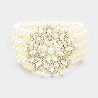 Multi Strand Pearl Crystal Flower Accented Stretch Bracelet