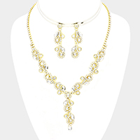 Floral Crystal Rhinestone Pave Necklace