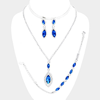 3PCS Rhinestone Pave Oval Stone Dangle Necklace Jewelry Set
