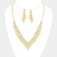 Pearl Crystal Rhinestone Pave V Collar Necklace