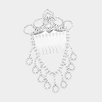 Draped Crystal Rhinestone Pave Crown Hair Comb