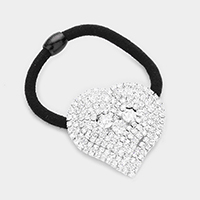 Crystal Rhinestone Pave Heart Stretch Hair Band