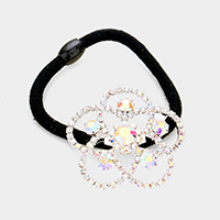 Crystal Rhinestone Pave Flower Stretch Hair Band