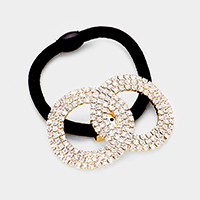 Crystal Rhinestone Pave Double Hoop Stretch Hair Band