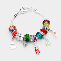 Multi Beaded Golf Charms Bracelet