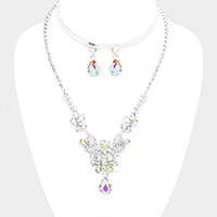 Floral Crystal Rhinestone Pave Teardrop Dangle Bib Necklace
