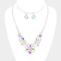 Floral Crystal Rhinestone Pave Bib Necklace
