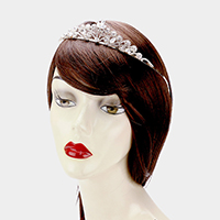 Floral Crystal Rhinestone Pave Pageant Queen Tiara