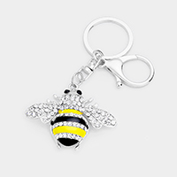 Stone Pave Honey Bee Key Chain